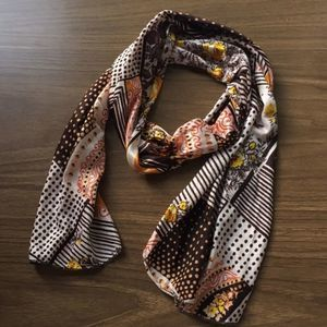 Vintage abstract head scarf tie brown cream yellow